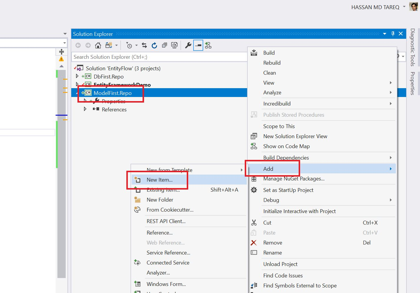 Entity Framework Model Fisrt Approach - Creating edmx Step 3